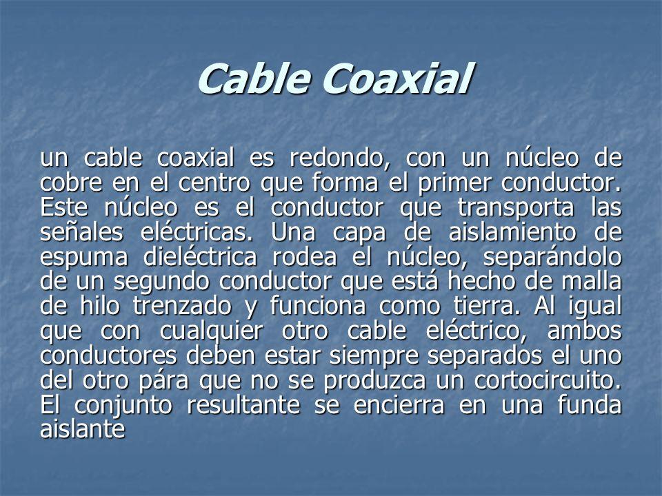Cable Coaxial un cable coaxial es redondo, con un núcleo de cobre en el centro que forma el primer conductor. Este núcleo es el conductor que transpor