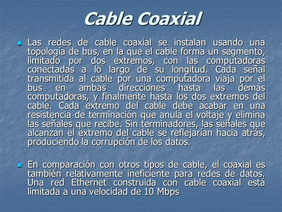 Cable Coaxial Las redes de cable coaxial se instalan usando una topología de bus, en la que el cable forma un segmento, limitado por dos extremos, con