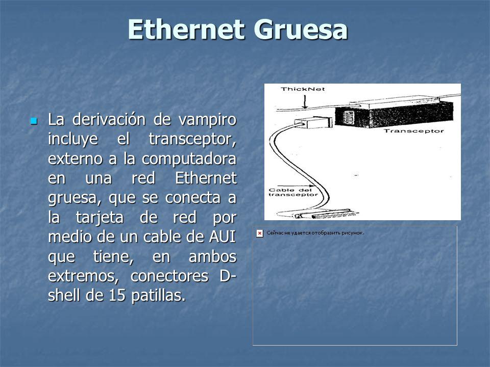 Ethernet Gruesa La derivación de vampiro incluye el transceptor, externo a la computadora en una red Ethernet gruesa, que se conecta a la tarjeta de r