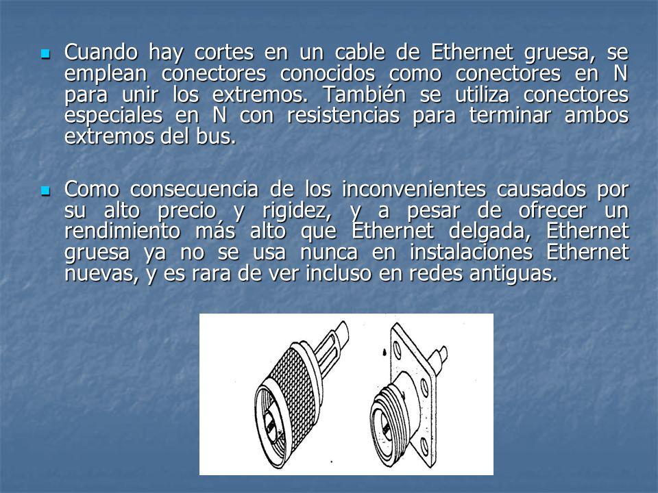 Cuando hay cortes en un cable de Ethernet gruesa, se emplean conectores conocidos como conectores en N para unir los extremos. También se utiliza cone