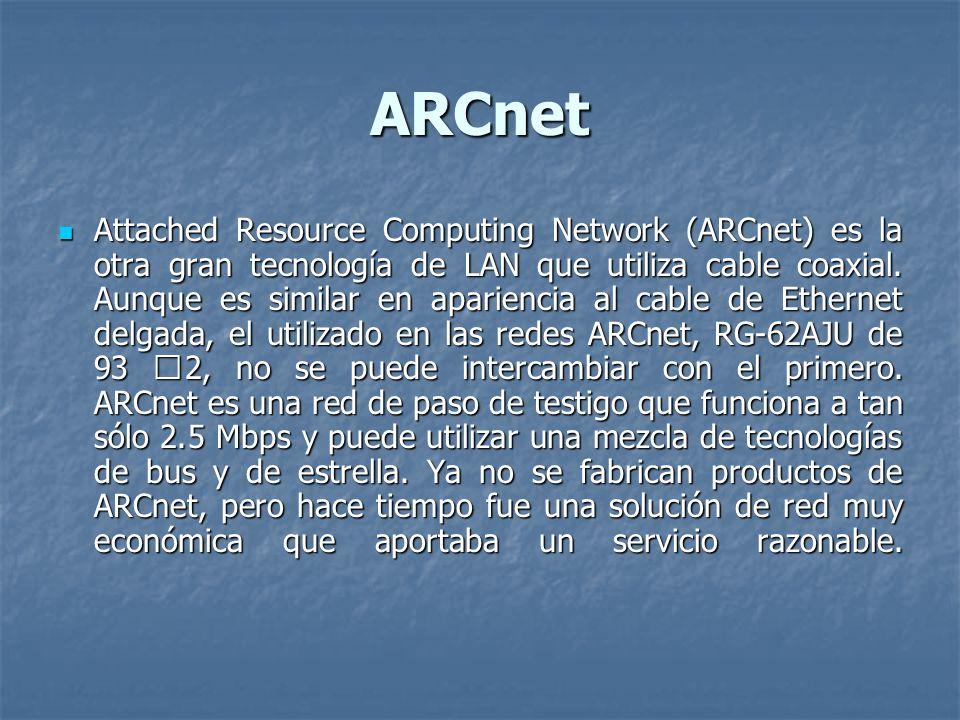 ARCnet Attached Resource Computing Network (ARCnet) es la otra gran tecnología de LAN que utiliza cable coaxial. Aunque es similar en apariencia al ca