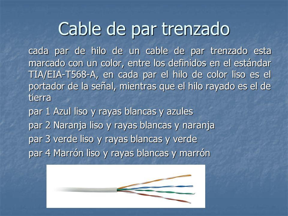 Cable de par trenzado cada par de hilo de un cable de par trenzado esta marcado con un color, entre los definidos en el estándar TIA/EIA-T568-A, en ca