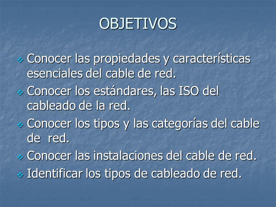 OBJETIVOS Conocer las propiedades y características esenciales del cable de red. Conocer las propiedades y características esenciales del cable de red