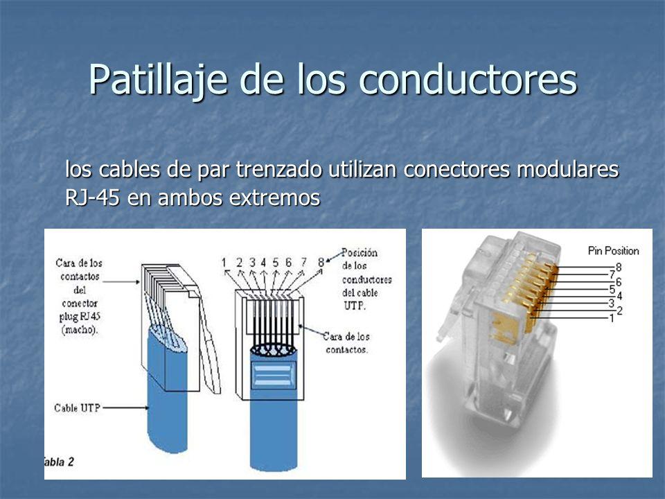 Patillaje de los conductores los cables de par trenzado utilizan conectores modulares RJ-45 en ambos extremos