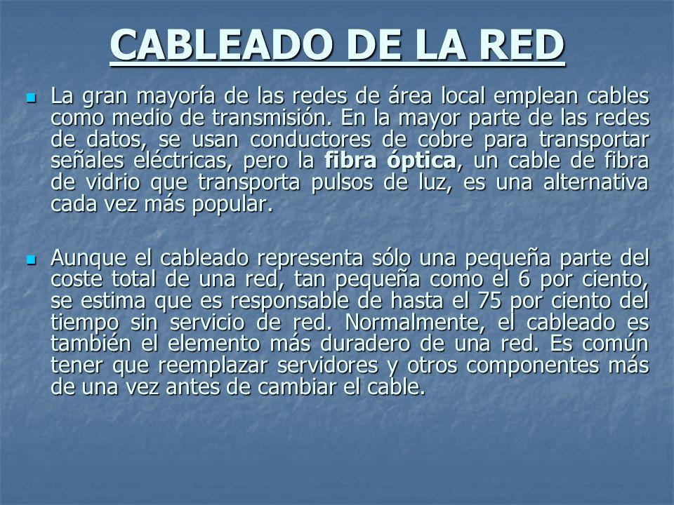 CABLEADO DE LA RED La gran mayoría de las redes de área local emplean cables como medio de transmisión. En la mayor parte de las redes de datos, se us