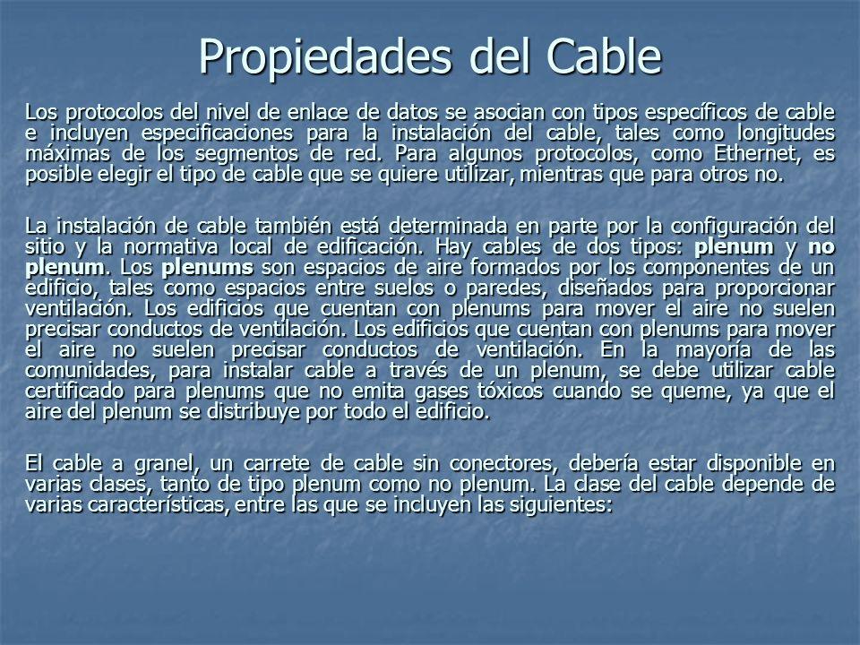 Tipos de Cable Coaxial Designación del cable Diámetro del cable ImpedanciaAtenuación (dB/100 a 100 MHz) Conectores Utilizados Protocolos Distintos RG-8/U0,405501,9N Ethernet gruesa RG-58/U o RG-58A/U 0,195504,5BNC Ethernet delgada RG-62A/U932,7BNCARCnet RG-59/U753,4F Televisión por Cable