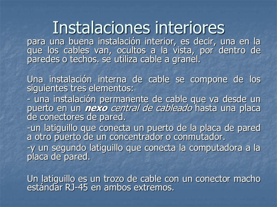 Instalaciones interiores para una buena instalación interior, es decir, una en la que los cables van, ocultos a la vista, por dentro de paredes o tech