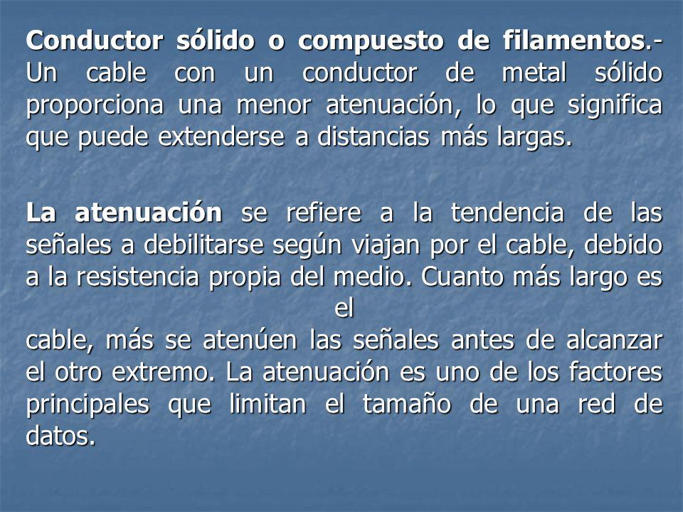 Conductor sólido o compuesto de filamentos.- Un cable con un conductor de metal sólido proporciona una menor atenuación, lo que significa que puede ex
