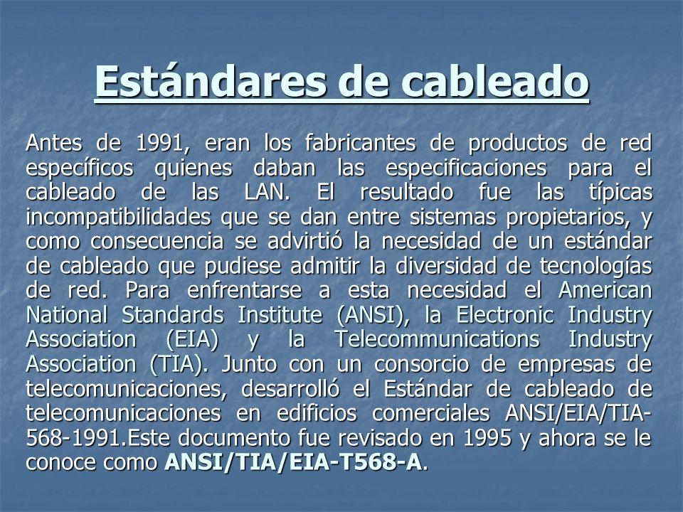 ANSI/TIA/EIA-T568-A El estándar T-568-A define un sistema de cableado estructurado para comunicaciones de voz y datos en entornos de oficina, con una vida útil de al menos diez años, que admite productos de múltiples proveedores de tecnología y utiliza los siguientes tipos de cable: El estándar T-568-A define un sistema de cableado estructurado para comunicaciones de voz y datos en entornos de oficina, con una vida útil de al menos diez años, que admite productos de múltiples proveedores de tecnología y utiliza los siguientes tipos de cable: Cable trenzado sin apantallamiento (Unshielded twisted-pair, UTP) (100 Ω, 22 o 24 AWG).