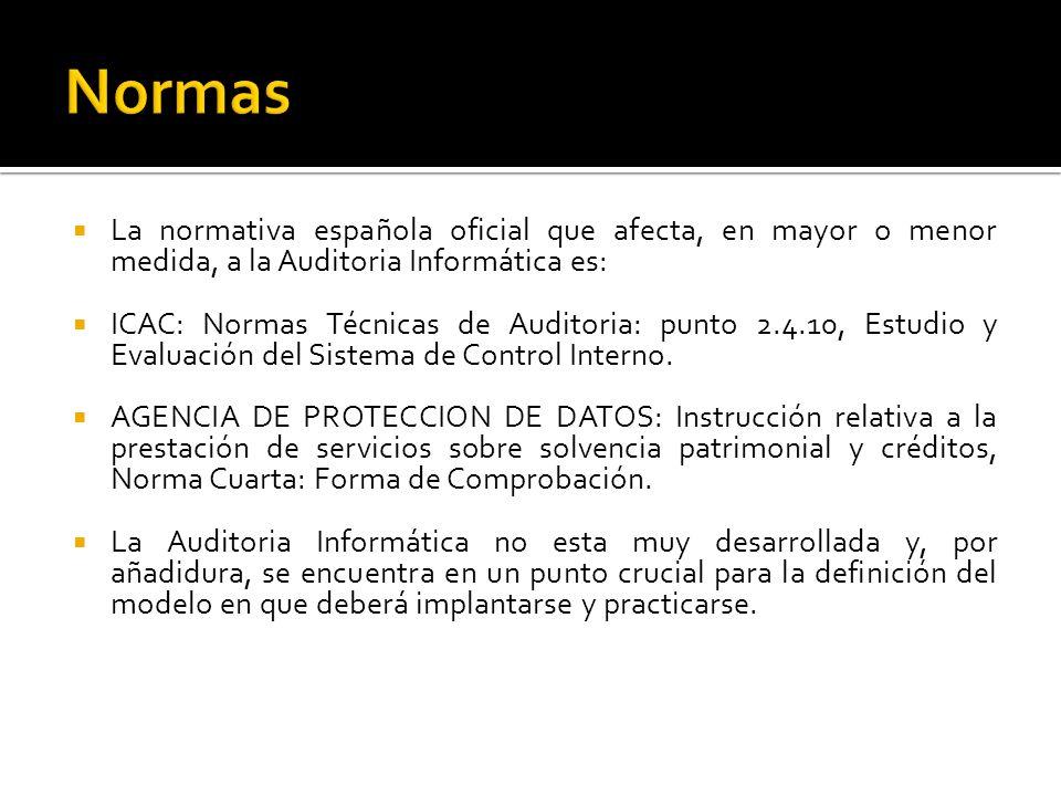 La normativa española oficial que afecta, en mayor o menor medida, a la Auditoria Informática es: ICAC: Normas Técnicas de Auditoria: punto 2.4.10, Es