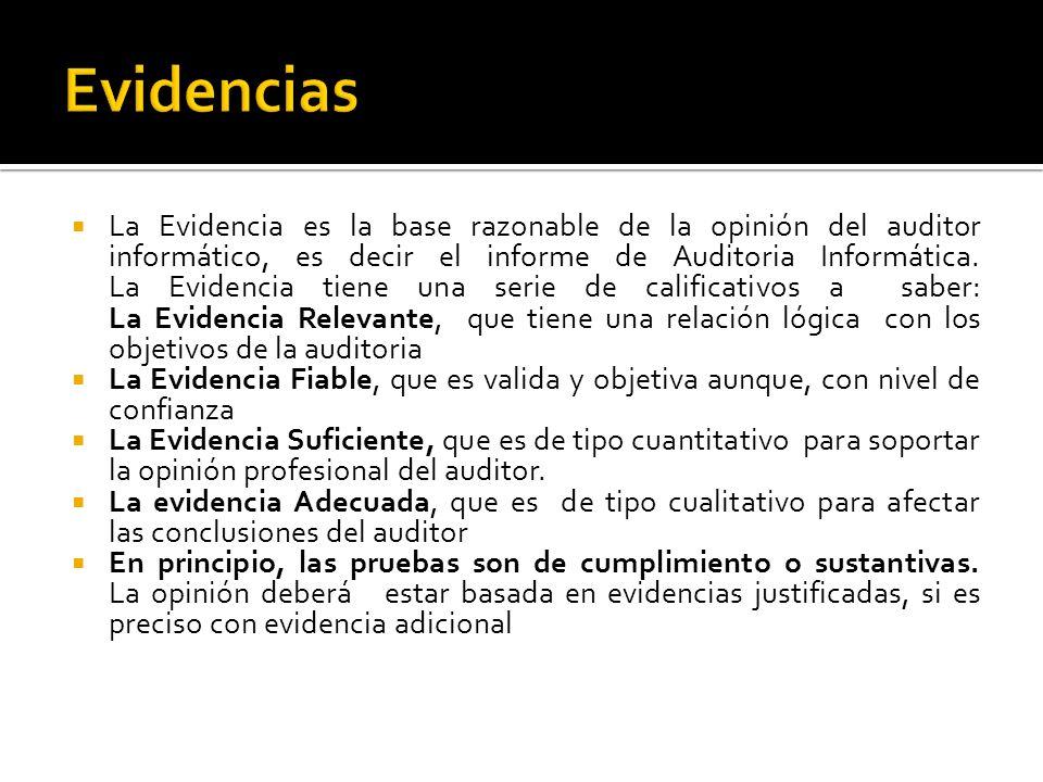 La Evidencia es la base razonable de la opinión del auditor informático, es decir el informe de Auditoria Informática. La Evidencia tiene una serie de
