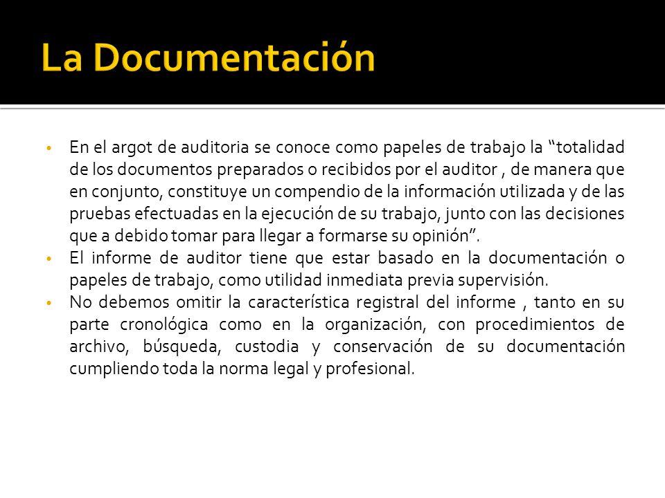En el argot de auditoria se conoce como papeles de trabajo la totalidad de los documentos preparados o recibidos por el auditor, de manera que en conj