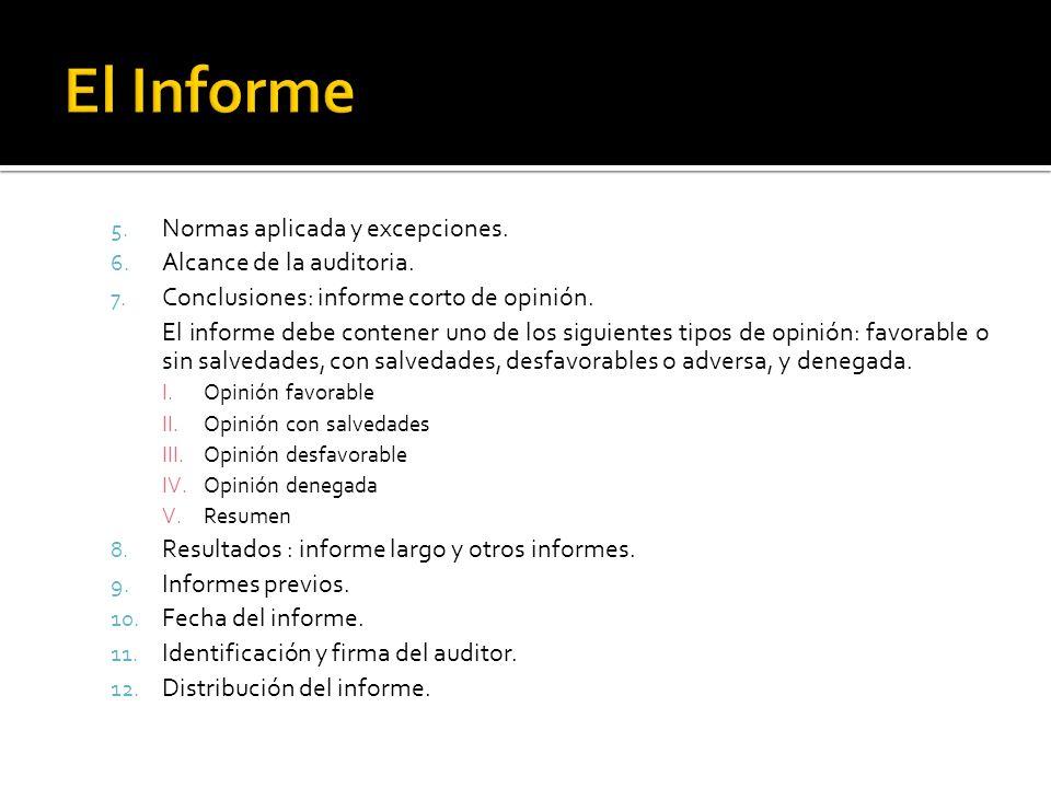 5. Normas aplicada y excepciones. 6. Alcance de la auditoria. 7. Conclusiones: informe corto de opinión. El informe debe contener uno de los siguiente