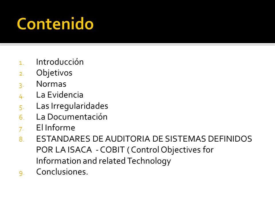 1. Introducción 2. Objetivos 3. Normas 4. La Evidencia 5. Las Irregularidades 6. La Documentación 7. El Informe 8. ESTANDARES DE AUDITORIA DE SISTEMAS