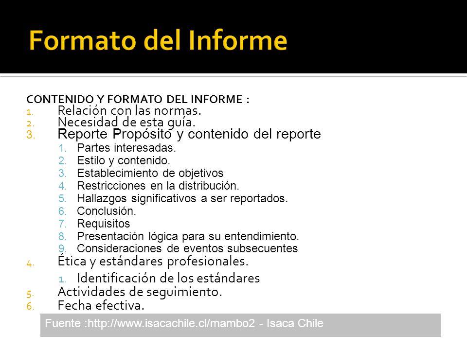 CONTENIDO Y FORMATO DEL INFORME : 1. Relación con las normas. 2. Necesidad de esta guía. 3. Reporte Propósito y contenido del reporte 1. Partes intere