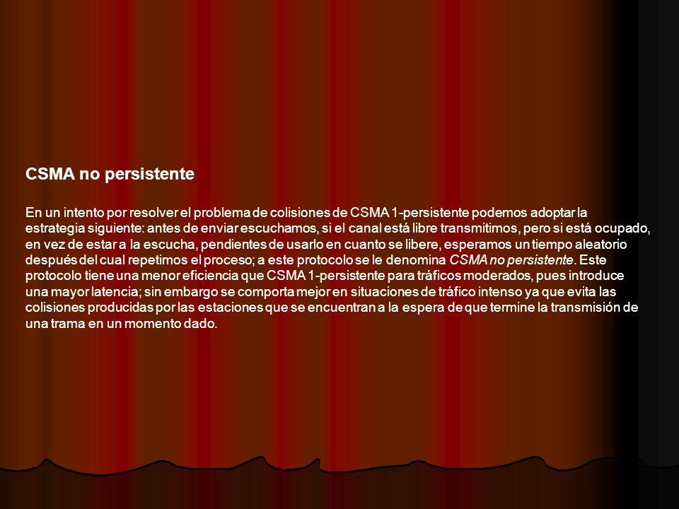 CSMA no persistente En un intento por resolver el problema de colisiones de CSMA 1-persistente podemos adoptar la estrategia siguiente: antes de envia