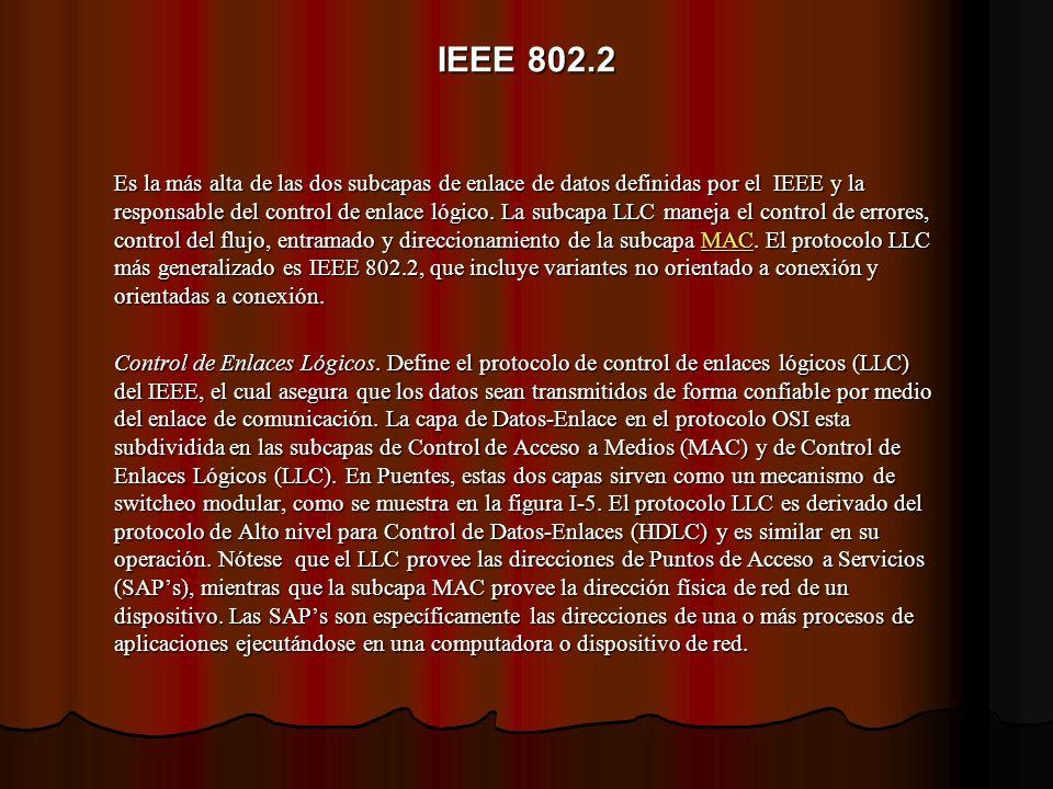 IEEE 802.2 Es la más alta de las dos subcapas de enlace de datos definidas por el IEEE y la responsable del control de enlace lógico. La subcapa LLC m
