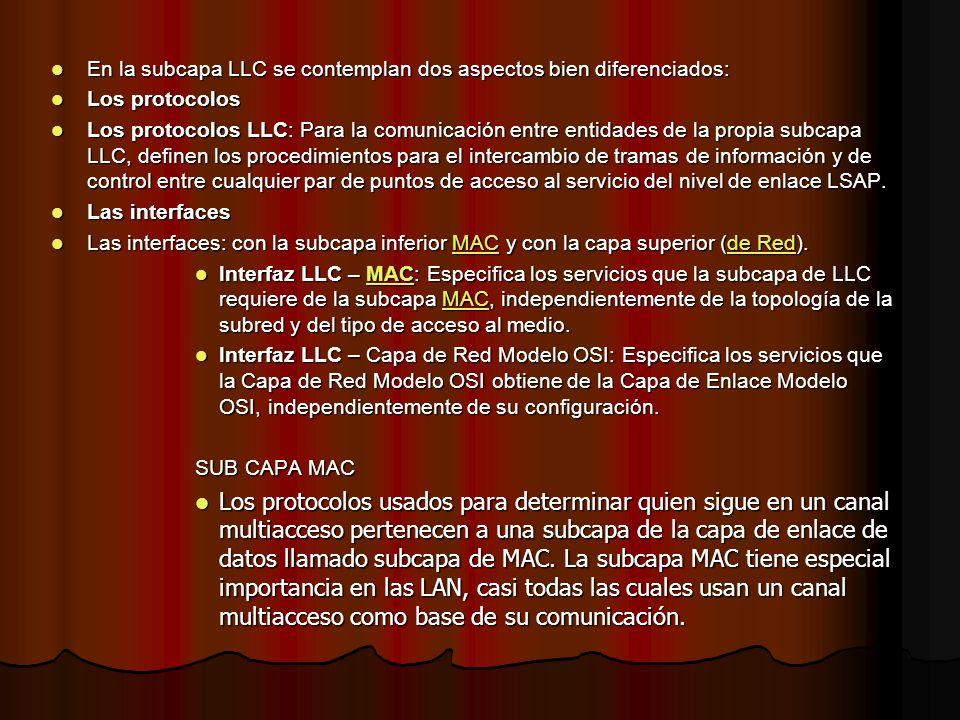 En la subcapa LLC se contemplan dos aspectos bien diferenciados: En la subcapa LLC se contemplan dos aspectos bien diferenciados: Los protocolos Los p