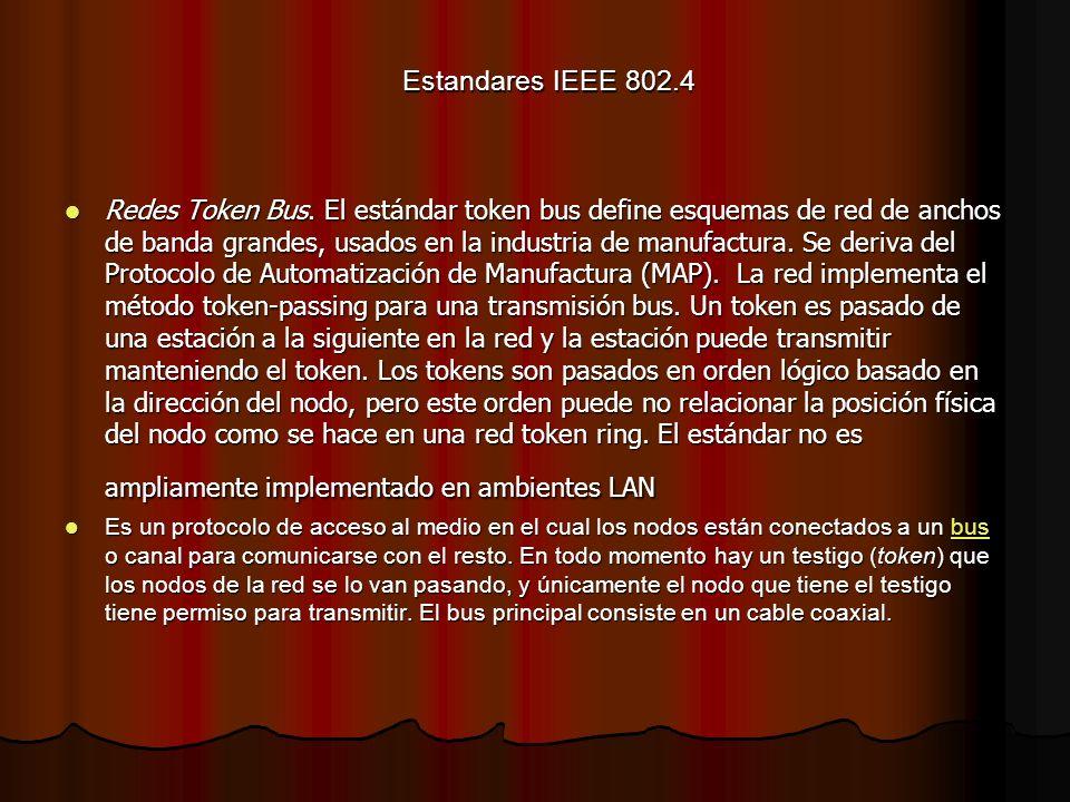 Estandares IEEE 802.4 Redes Token Bus. El estándar token bus define esquemas de red de anchos de banda grandes, usados en la industria de manufactura.