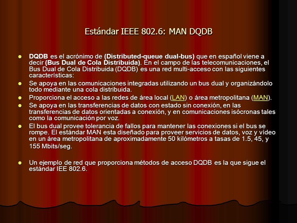 Estándar IEEE 802.6: MAN DQDB DQDB es el acrónimo de (Distributed-queue dual-bus) que en español viene a decir (Bus Dual de Cola Distribuida). En el c