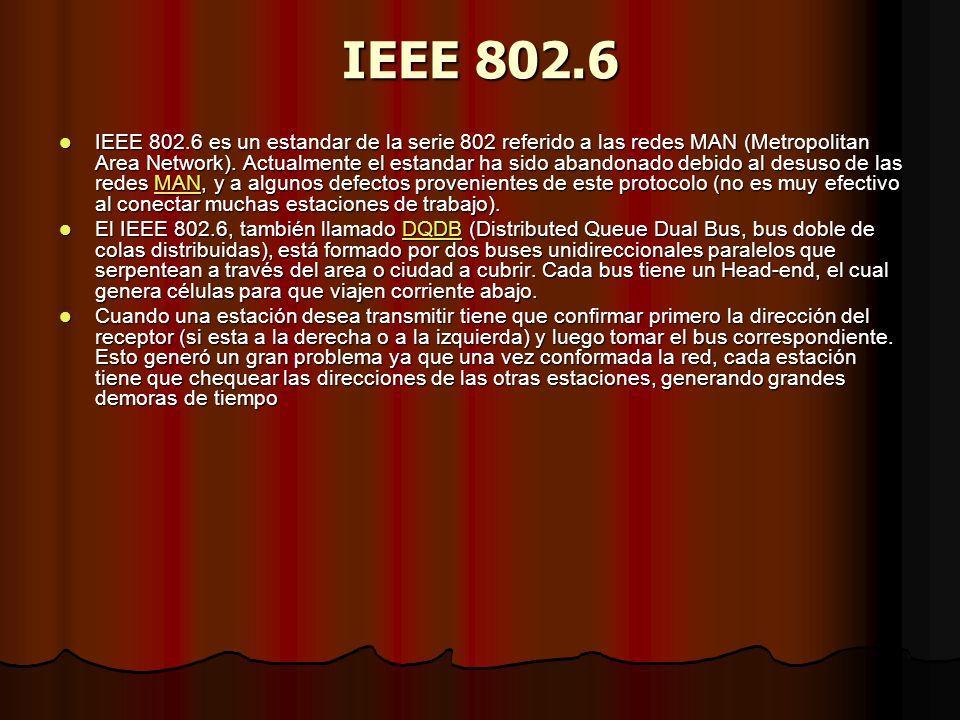 IEEE 802.6 IEEE 802.6 es un estandar de la serie 802 referido a las redes MAN (Metropolitan Area Network). Actualmente el estandar ha sido abandonado