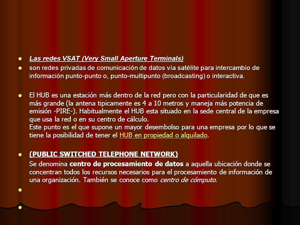 Las redes VSAT (Very Small Aperture Terminals) Las redes VSAT (Very Small Aperture Terminals) son redes privadas de comunicación de datos vía satélite