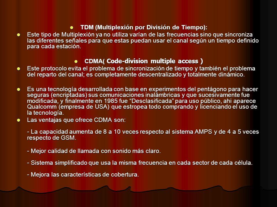 TDM (Multiplexión por División de Tiempo): TDM (Multiplexión por División de Tiempo): Este tipo de Multiplexión ya no utiliza varían de las frecuencia