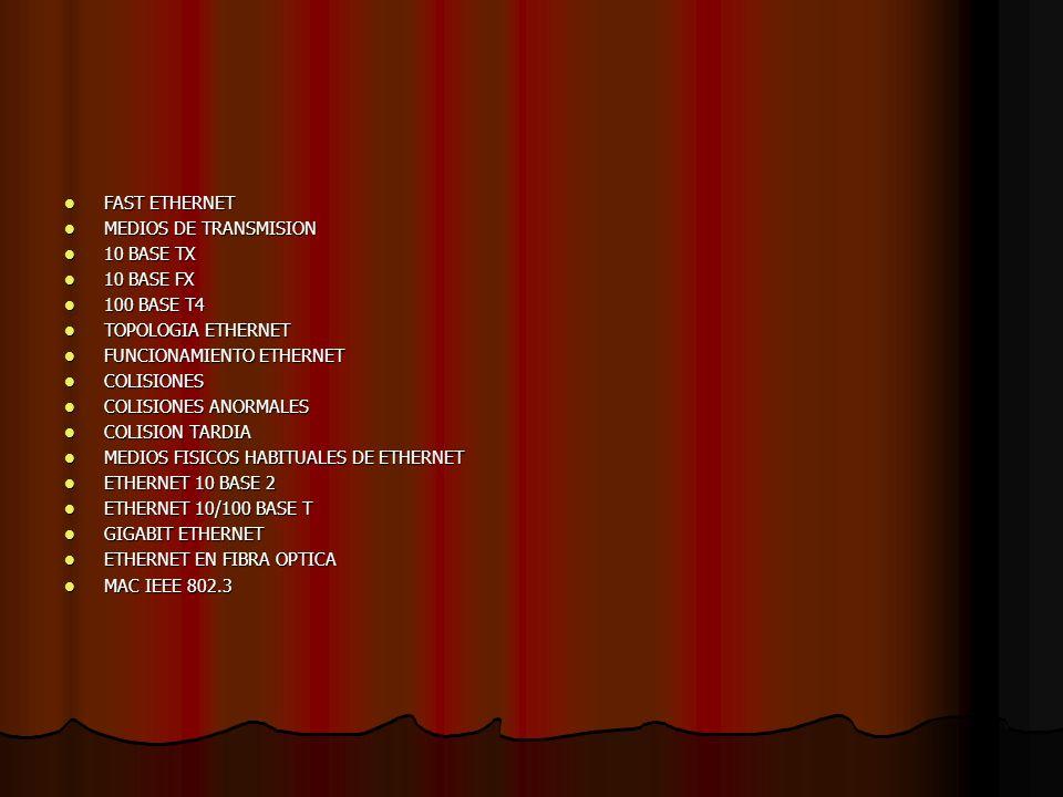 FAST ETHERNET FAST ETHERNET MEDIOS DE TRANSMISION MEDIOS DE TRANSMISION 10 BASE TX 10 BASE TX 10 BASE FX 10 BASE FX 100 BASE T4 100 BASE T4 TOPOLOGIA