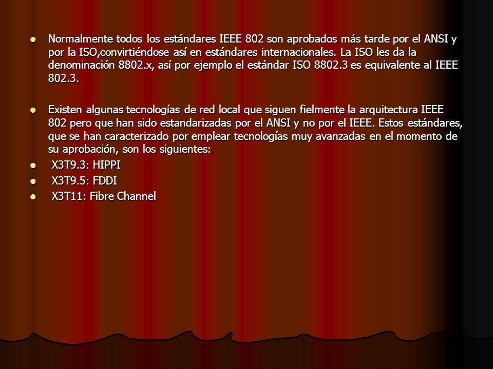 Normalmente todos los estándares IEEE 802 son aprobados más tarde por el ANSI y por la ISO,convirtiéndose así en estándares internacionales. La ISO le