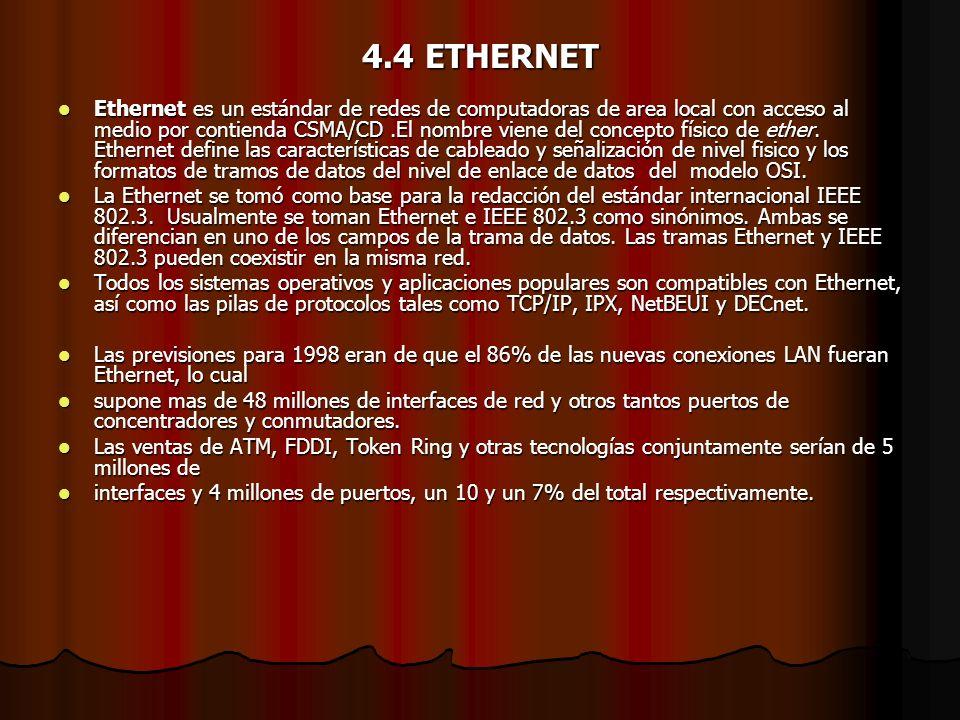 4.4 ETHERNET Ethernet es un estándar de redes de computadoras de area local con acceso al medio por contienda CSMA/CD.El nombre viene del concepto fís