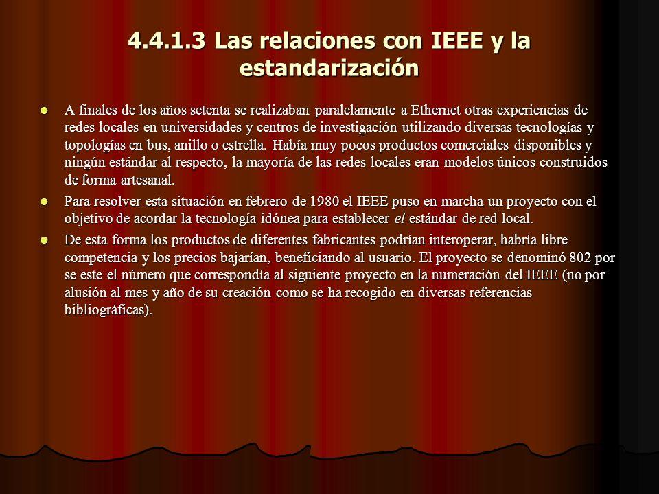 4.4.1.3 Las relaciones con IEEE y la estandarización A finales de los años setenta se realizaban paralelamente a Ethernet otras experiencias de redes