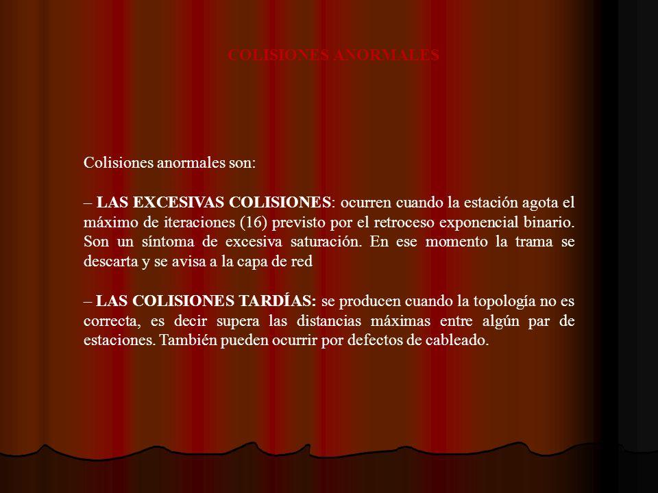 Colisiones anormales son: – LAS EXCESIVAS COLISIONES: ocurren cuando la estación agota el máximo de iteraciones (16) previsto por el retroceso exponen