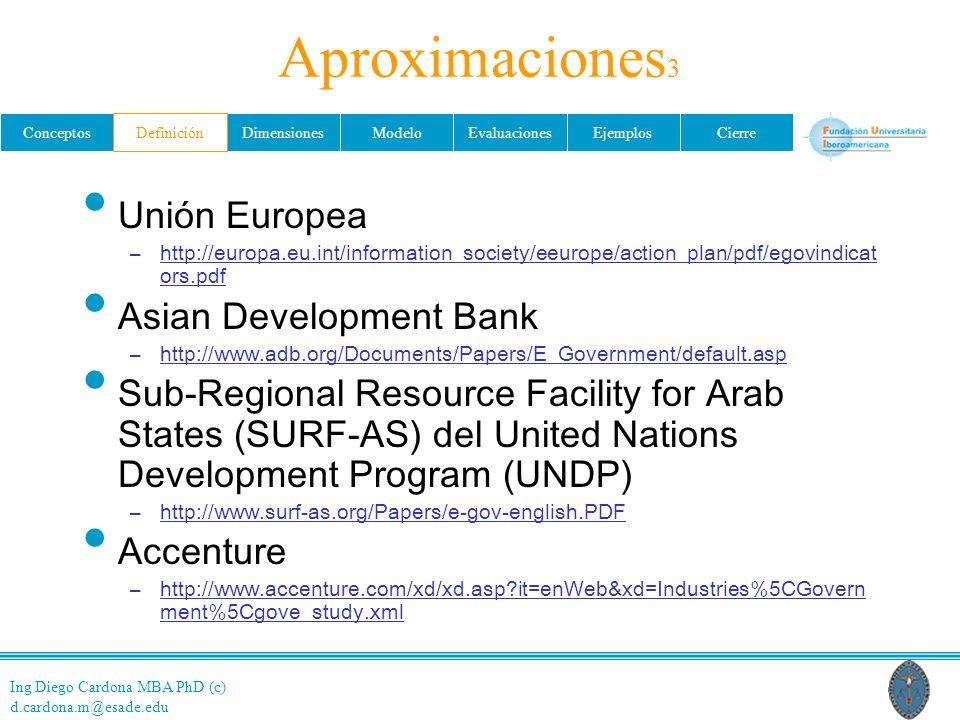 Ing Diego Cardona MBA PhD (c) d.cardona.m@esade.edu ConceptosDefiniciónDimensionesModeloEvaluacionesEjemplosCierre Aproximaciones 3 Unión Europea –htt