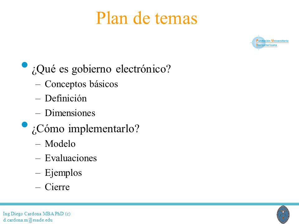 Ing Diego Cardona MBA PhD (c) d.cardona.m@esade.edu ConceptosDefiniciónDimensionesModeloEvaluacionesEjemplosCierre Plan de temas ¿Qué es gobierno electrónico.