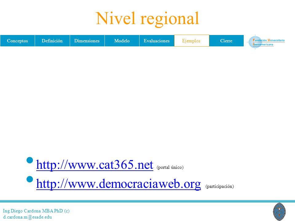 Ing Diego Cardona MBA PhD (c) d.cardona.m@esade.edu ConceptosDefiniciónDimensionesModeloEvaluacionesEjemplosCierre Nivel regional http://www.cat365.net (portal único) http://www.cat365.net http://www.democraciaweb.org (participación) http://www.democraciaweb.org Ejemplos
