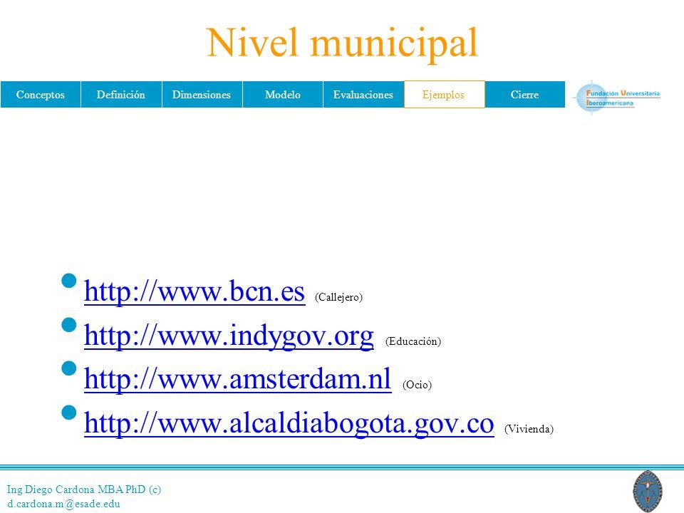 Ing Diego Cardona MBA PhD (c) d.cardona.m@esade.edu ConceptosDefiniciónDimensionesModeloEvaluacionesEjemplosCierre Nivel municipal http://www.bcn.es (Callejero) http://www.bcn.es http://www.indygov.org (Educación) http://www.indygov.org http://www.amsterdam.nl (Ocio) http://www.amsterdam.nl http://www.alcaldiabogota.gov.co (Vivienda) http://www.alcaldiabogota.gov.co Ejemplos