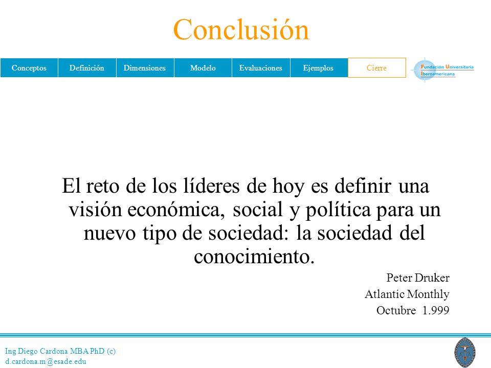 Ing Diego Cardona MBA PhD (c) d.cardona.m@esade.edu ConceptosDefiniciónDimensionesModeloEvaluacionesEjemplosCierre Conclusión El reto de los líderes de hoy es definir una visión económica, social y política para un nuevo tipo de sociedad: la sociedad del conocimiento.