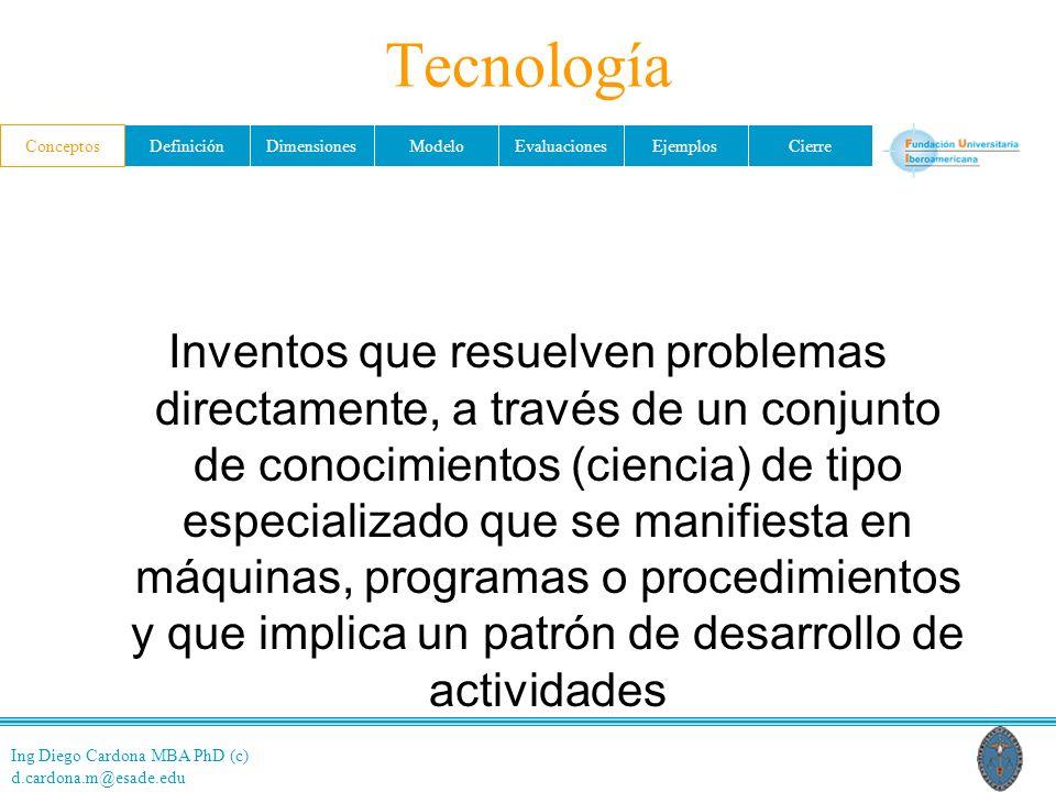 Ing Diego Cardona MBA PhD (c) d.cardona.m@esade.edu ConceptosDefiniciónDimensionesModeloEvaluacionesEjemplosCierre Tecnología Inventos que resuelven problemas directamente, a través de un conjunto de conocimientos (ciencia) de tipo especializado que se manifiesta en máquinas, programas o procedimientos y que implica un patrón de desarrollo de actividades Conceptos