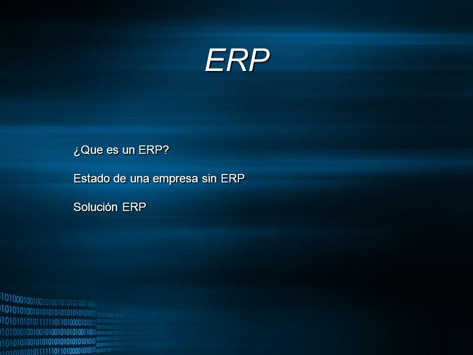 MIGUEL ANGEL CARBAJAL PASTOR ERP ¿Que es un ERP? Estado de una empresa sin ERP Solución ERP