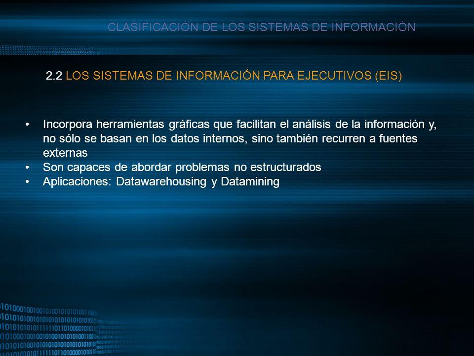 MIGUEL ANGEL CARBAJAL PASTOR CLASIFICACIÓN DE LOS SISTEMAS DE INFORMACIÓN Incorpora herramientas gráficas que facilitan el análisis de la información