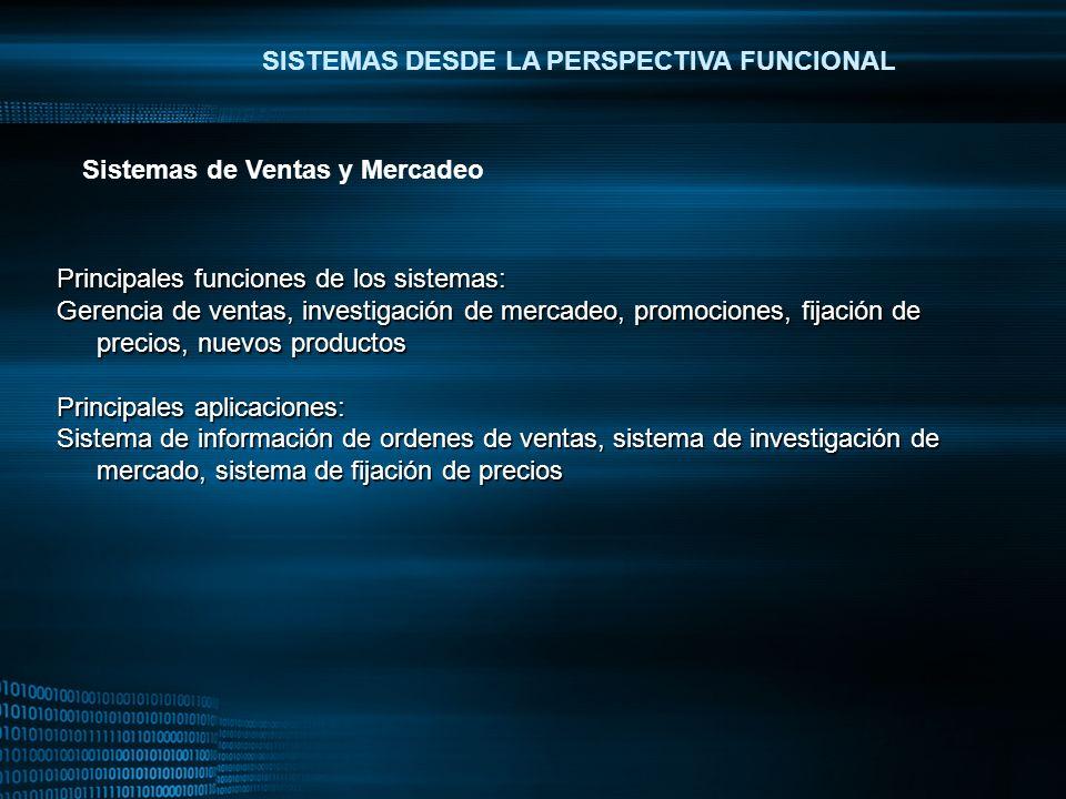 MIGUEL ANGEL CARBAJAL PASTOR SISTEMAS DESDE LA PERSPECTIVA FUNCIONAL Principales funciones de los sistemas: Gerencia de ventas, investigación de merca