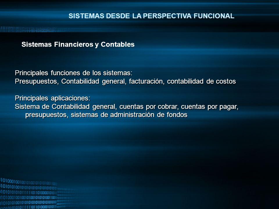 MIGUEL ANGEL CARBAJAL PASTOR SISTEMAS DESDE LA PERSPECTIVA FUNCIONAL Principales funciones de los sistemas: Presupuestos, Contabilidad general, factur