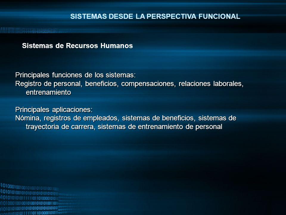 MIGUEL ANGEL CARBAJAL PASTOR SISTEMAS DESDE LA PERSPECTIVA FUNCIONAL Principales funciones de los sistemas: Registro de personal, beneficios, compensa
