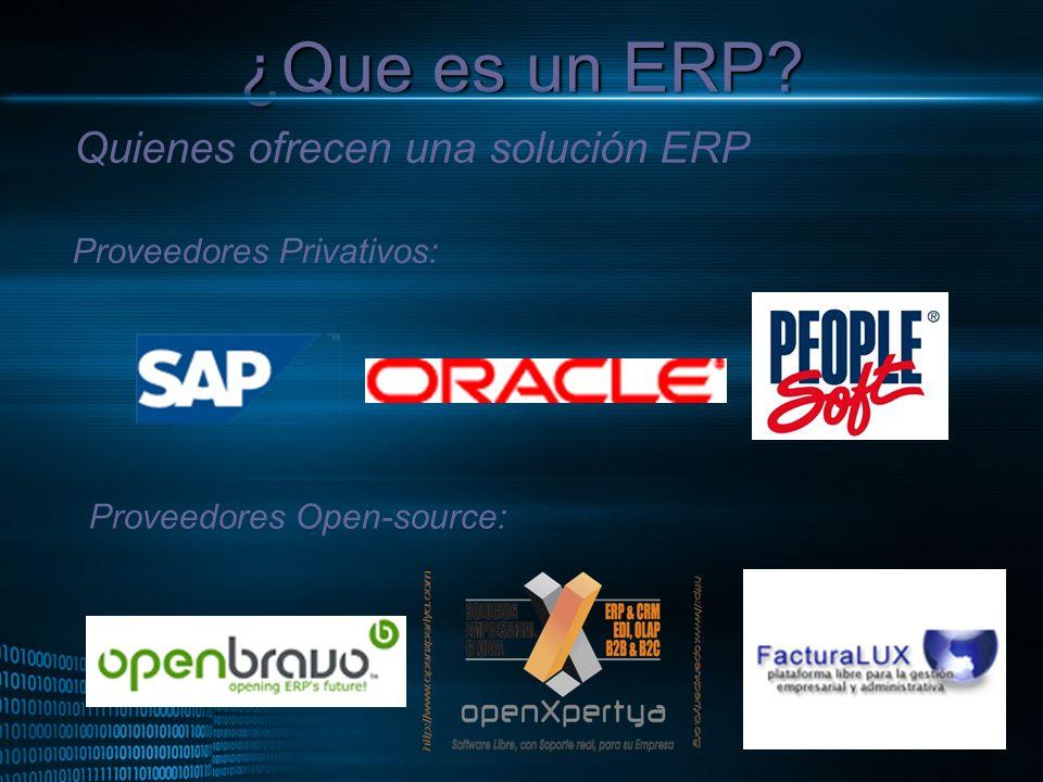MIGUEL ANGEL CARBAJAL PASTOR ¿Que es un ERP? Quienes ofrecen una solución ERP Proveedores Privativos: Proveedores Open-source: