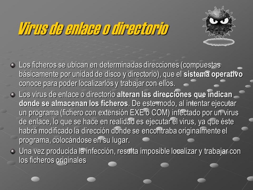 Virus de enlace o directorio Los ficheros se ubican en determinadas direcciones (compuestas básicamente por unidad de disco y directorio), que el sistema operativo conoce para poder localizarlos y trabajar con ellos.