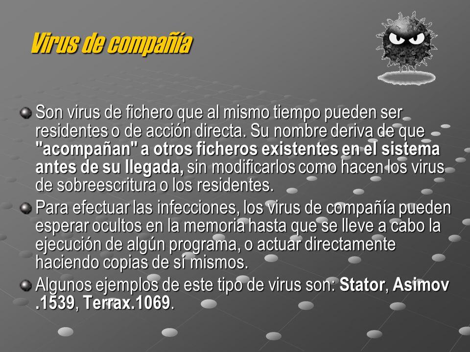 Virus de compañía Son virus de fichero que al mismo tiempo pueden ser residentes o de acción directa. Su nombre deriva de que