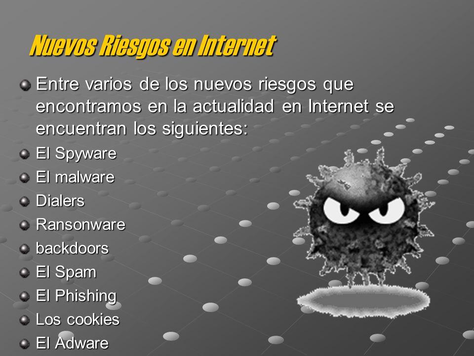 Nuevos Riesgos en Internet Entre varios de los nuevos riesgos que encontramos en la actualidad en Internet se encuentran los siguientes: El Spyware El