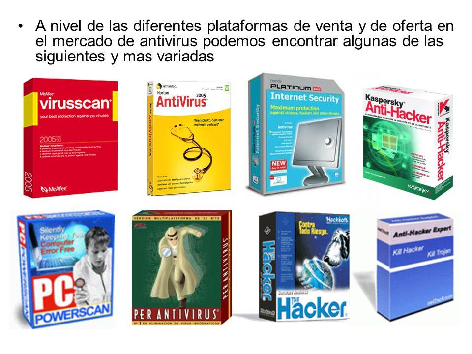 A nivel de las diferentes plataformas de venta y de oferta en el mercado de antivirus podemos encontrar algunas de las siguientes y mas variadas
