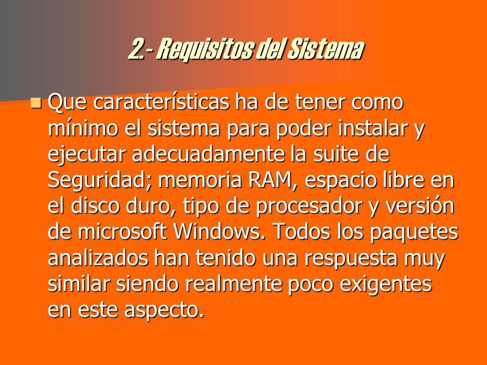 2.- Requisitos del Sistema Que características ha de tener como mínimo el sistema para poder instalar y ejecutar adecuadamente la suite de Seguridad; memoria RAM, espacio libre en el disco duro, tipo de procesador y versión de microsoft Windows.