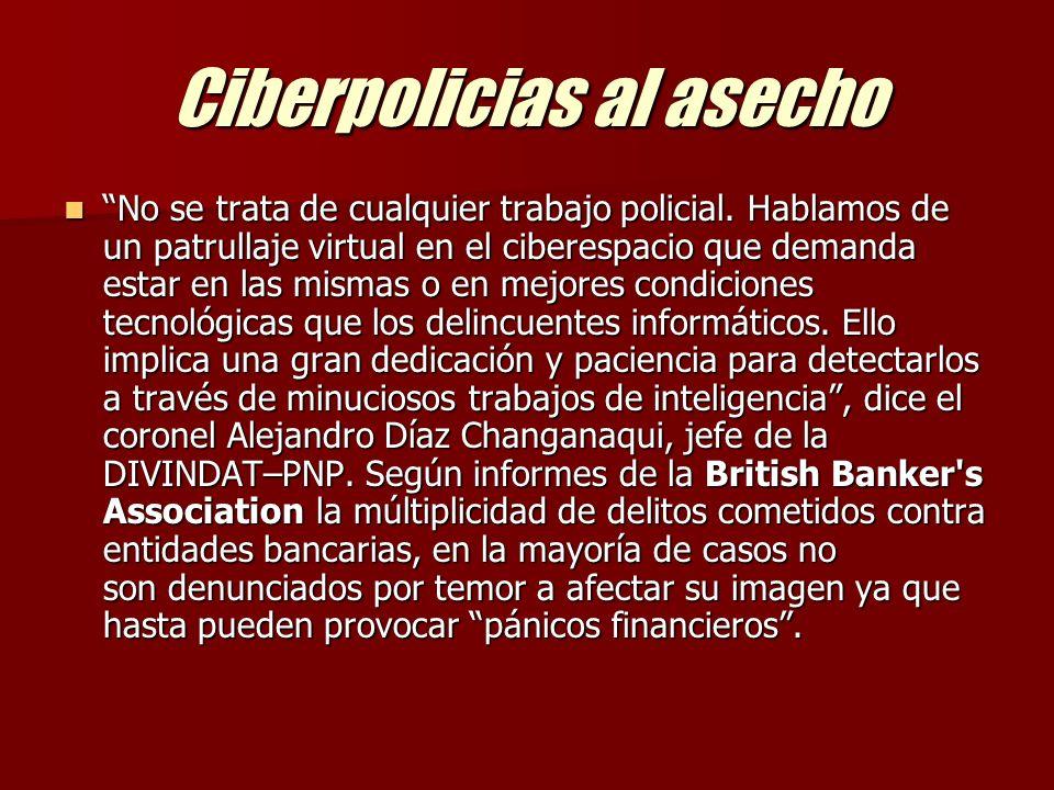 Ciberpolicias al asecho La División de investigación de delitos de alta Tecnología DIVINDAT de la DININCRI-PNP, creada hace un año atrás con buena intención y escaso presupuesto.